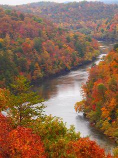 Autumn splendor at Cumberland Falls State Resort Park in Corbin, Kentucky. #kentucky #kycolorfall