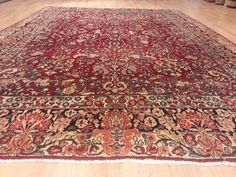 9x12 Antique Sarouk Persian Hand Knotted Wool Vintage Red Actual Size 9'0x12'0 Rug Carpet Free Ship