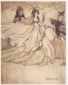 """Ashenputtel"" Illustration by Arthur Rackham, a version of Cinderella?"