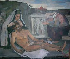 Emőd Aurél: Pieta - olaj, vászon, 1936 körül Painting, Art