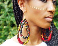 Blue & Cream African Fringe Earrings  Ankara Earrings