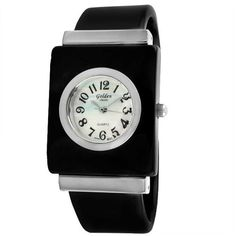 """Golden Classic Women's 5117_Blk """"Charming Tone"""" Sleek Silver Bezel Bangle Watch Golden Classic. $24.75. Mother-Of-Pearl dial with contrasting Arabic numerals and hour, minute, and second hands. Highest standard Quartz movement. Water-resistant to 99 feet (30 M) ? not recommended for shower or water use. Sleek silver metal bezel. Black bangle band with silver detailing"""