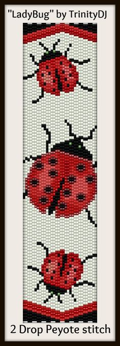 """LadyBug"" - One of the new bracelet patterns for this week. It will be available as direct download and/or kit tomorrow (2 drop peyote stitch bracelet pattern)"