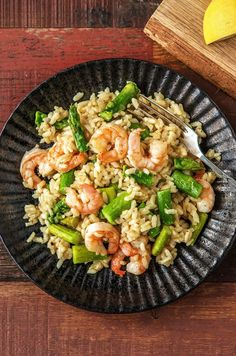 "Creamy shrimp and asparagus risotto with meyer lemon | Try HelloFresh today with code ""HelloPinterest"" and receive $25 off your first box."