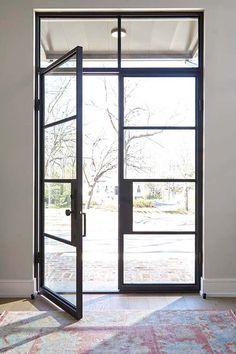 19 Ideas For Steel Front Door Entrance Spaces Exterior Doors With Glass, Exterior Front Doors, Glass Front Door, Entrance Doors, Patio Doors, Glass Doors, Entrance Ideas, Oak Doors, Door And Window Design