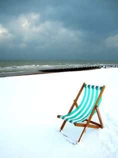Just gone for an ice cream ... snow at the beach - photo: P Downing