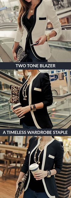 This versatile blazer features a stylish two-tone design. You can pair it with simple shirt underneath and a pair of skinny jeans for a casual look, or dress it up with a pencil skirt or slacks for work. 100% satisfaction guarantee!
