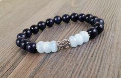 Bracelet de pierres fines aigue-marine facetées et goldstone bleues - hibou argent de la boutique BijouxDesignselect sur Etsy