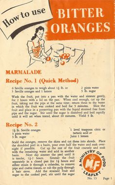 """""""How to use bitter oranges"""" - WW2 UK Ministry of Food leaflet No.13, 1945 