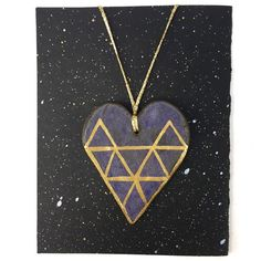Handmade ceramic necklace by Christy Nyboer  item No.05  - heart shape pendant with gold triangular paint