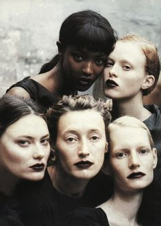 Naomi Campbell, Karen Elson, Shalom Harlow, Marie Sophie Wilson and Kirsten Owen by Peter Lindbergh