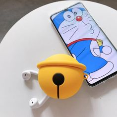 Doraemon Style Yellow Bell Silicone Protective Shockproof Case For Apple Airpods 1 & 2 Doraemon Cartoon, Pink Panda, Crazy About You, Earphone Case, K Pop Music, Airpod Case, Rubber Duck, Barack Obama, Colorful Decor