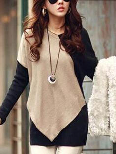 Elegant V-Neck Color Block Long Sleeve Loose-Fitting T-Shirt For Women Fashion Sale, Look Fashion, Autumn Fashion, Fashion Outfits, Womens Fashion, Cheap Fashion, Fashion Online, Casual Tops For Women, Cute Outfits