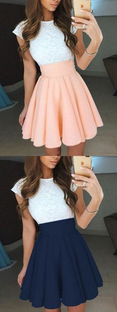 Pleated Homecoming Dresses, Pearl Pink A-line/Princess Prom Dresses, Short Pearl Pink Prom Dresses, A-Line Jewel Cap Sleeves Pearl Pink Short Chiffon Homecoming/Prom Dress with White Lace Mini Prom Dresses, Princess Prom Dresses, Hoco Dresses, Prom Dresses With Sleeves, Dance Dresses, Pretty Dresses, Beautiful Dresses, Prom Gowns, Pink Dresses