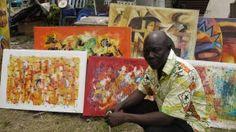 Mayemba with his Art