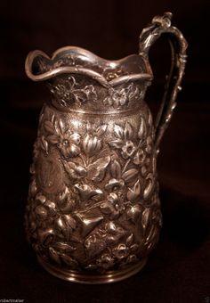 Peter Krider sterling silver repousse creamer, Philadelphia, c1870 (robertmaher)