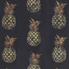 Pineapple Fabric The pineapple is often considered a symbol of hospitality in the home. This fun contemporary linen cotton fabric features a hand block print effect pineapple design in gold and copper on a deep charcoal ground, for a moody raj-style room.