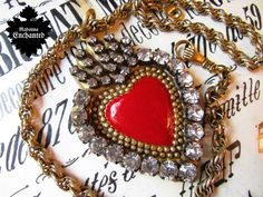 Madonna Enchanted Milagro necklace sacred heart religious red ex voto rhinestone Catholic one of a kind jewelry assemblage by madonnaenchanted on Etsy