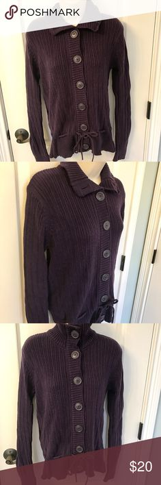 H&M L.O.G.G. Eggplant Purple Sweater! ❤❄️ H&M L.O.G.G. Eggplant Purple Sweater! ❤❄️.  This sweater is so fun to wear and I wish the pictures on the mannequin had more of a waist to show how cute the front tie is with the big buttons 😀.  A favorite sweater for sure! H&M Sweaters