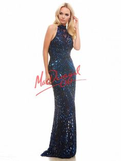 Midnight Blue Sequin Prom Dress | Mac Duggal 4168A.. Size 6...WAS $478...NOW $238