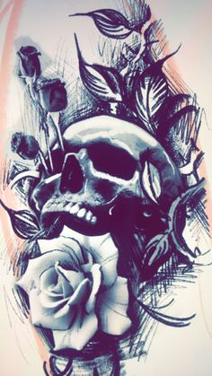 Cool Skull Tattoos For Women – My hair and beauty Skull Tattoo Flowers, Skull Rose Tattoos, Flower Tattoos, Body Art Tattoos, Sleeve Tattoos, Skull Tattoo Design, Tattoo Design Drawings, Tattoo Sketches, Tattoo Designs