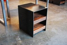 Plate Steel and American Black Walnut Side table modern-side-tables-and-accent-tables
