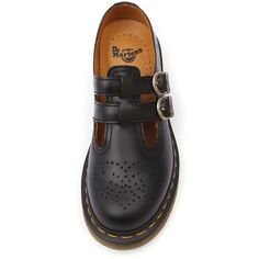 Dr. Martens 8065 Mary Jane Black ($145) ❤ liked on Polyvore featuring shoes, black mary jane shoes, dr martens mary janes, black mary janes, mary-jane shoes and black shoes