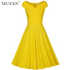 9fbb0345b17c6 50s Vintage, Vintage Cotton, Dress Vintage, Audrey Hepburn Style, Boat Neck,  Yellow Dress, Swing Dress, Fit And Flare, Flare Dress