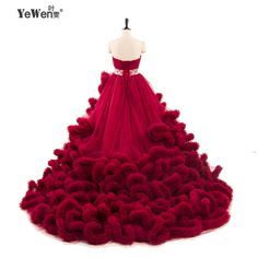 YeWen Luxury Princess Long train Cloud Wedding dress plus size Ball Gown  Wedding Dresses 18 vestidos 542b5d2194ca