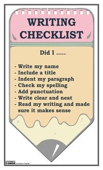 Writing Checklist - Primary