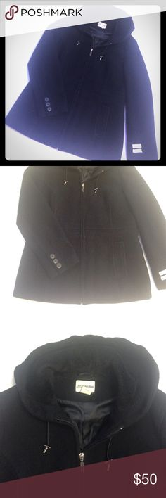 """Black Cashmere Wool Blend Hooded Coat Excellent condition.  Black zip up coat, two front pockets, faux fur lined hood, buttons at cuffs.  Hits a little below the hip.  Approx measurements laying flat: chest 22"""", length 27.5"""". St. John's Bay Jackets & Coats"""