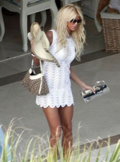 Victoria Silvstedt Relaxing On The Beach In St. Barts - love the simple yet beautiful  white dress!