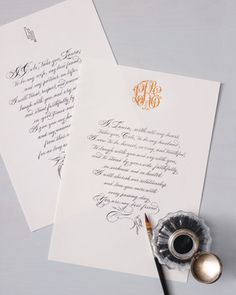 Wedding Vows - They might just be the most important words you ever say to each other. To turn those heartfelt sentiments into heirlooms, have a calligrapher write them on monogrammed paper. Read them during the ceremony, then display them at home. Best Wedding Vows, Perfect Wedding, Wedding Ceremony, Our Wedding, Dream Wedding, Wedding Paper, Wedding Card, Wedding Bells, Garden Wedding