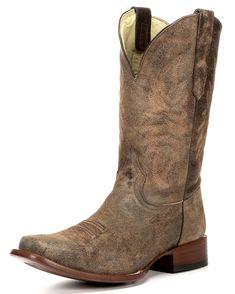 a3e3a6dfea Corral Men s Brown Distressed Goat Leather Boots - Square Toe