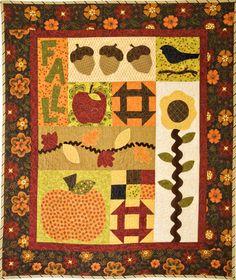 fun #applique and #churndash #blocks in this #fall #quilt