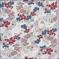White background with a deep blue, crimson red, pale yellow, dusty pink, sage and dusty lavender all over floral print. A soft, very lightweight cotton woven fabric.Compare to $12.00/yd