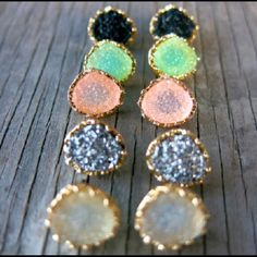 """Flash Sale! Druze Earrings, Stone Earring Listing is for a brand new pair of druzy studs. Synthetic druzy. Diameter 1/2"""". No nickel or lead. Hypoallergenic. Please let me know your choice of color (black, mint, tan, light pink, gray) Jewelry Earrings"""