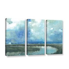ArtWall 'Meandering Stream' by Norman Wyatt Jr 3 Piece Painting Print on Wrapped Canvas Set Size: