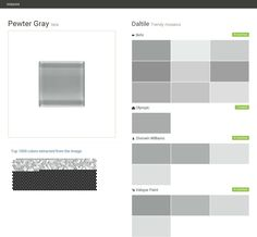 Pewter Gray. Isis. Trendy mosaics. Daltile. Behr. Olympic. Sherwin Williams. Valspar Paint.  Click the gray Visit button to see the matching paint names.