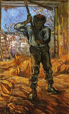 """The Thresher (after Millet)"" by Vincent Van Gogh. Painted in Sept 1889 while in the Saint-Rémy Asylum - Current location: Vincent van Gogh Museum, Amsterdam, Netherlands. Art Van, Van Gogh Art, Rembrandt, Vincent Van Gogh, Van Gogh Museum, Claude Monet, Desenhos Van Gogh, Henri De Toulouse-lautrec, Theo Van Gogh"