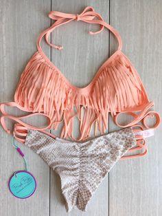 Its Back Peach And Sand Snake Fringe bikini by BeachBabeSwimwear