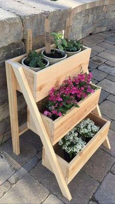 Vertical Planter, Herb Planters, Tiered Planter, Planter Ideas, Planter Boxes, Herb Planter Box, Strawberry Planters, Strawberry Box, Landscape Design Plans