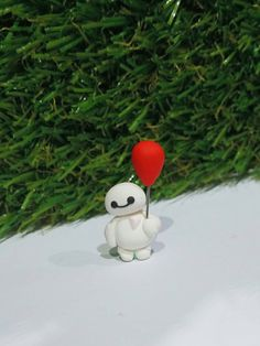 Miniature Baby Bay Max Figurine holding red balloon by tinypinc