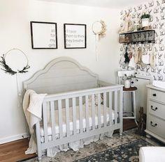 Darling Boho Nursery via @lynzy Nursery Decor | Nursery Inspo | Nursery Design | Project Nursery | Nursery Signs | Nursery Art | Fixer Upper | Farmhouse | Boho Decor | Boho Style | Rustic Decor