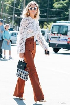 Loving this white long sleeve blouse paired with burnt orange pants.. so Fall!