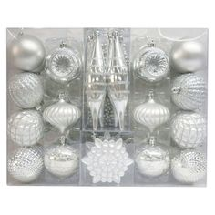 Christmas Ornament Set Silver Variety 40 Ct