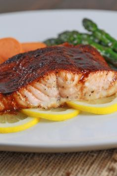 Salmon cooked with molasses and honey