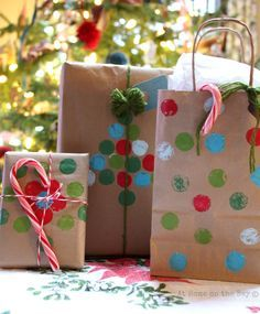 Recycled Brown Bag Gift Wrap Ideas: At Home on the Bay