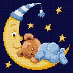 Teddy on the moon (free chart) Cross Stitch Cushion, Cross Stitch Baby, Cross Stitch Kits, Cross Stitch Charts, Cross Stitch Designs, Cross Stitch Patterns, Baby Afghan Crochet, Baby Afghans, Cross Stitching