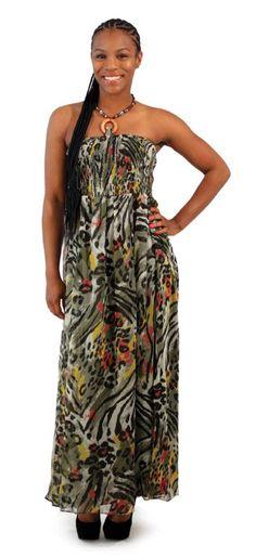 Sleeveless Jungle Print Dress  http://rarenubian.yourafricanmarket.com/